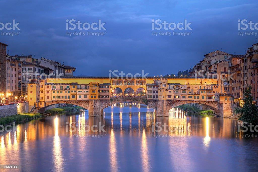 A beautiful night scene of Ponte Vecchio, Florence, Italy stock photo