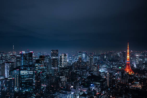 beautiful night scene of  tokyo skyline beautiful night scene of  tokyo skyline tokyo stock pictures, royalty-free photos & images