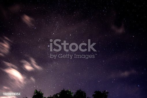 809971888istockphoto Beautiful night sky and many stars with tree leafs. 1023919054
