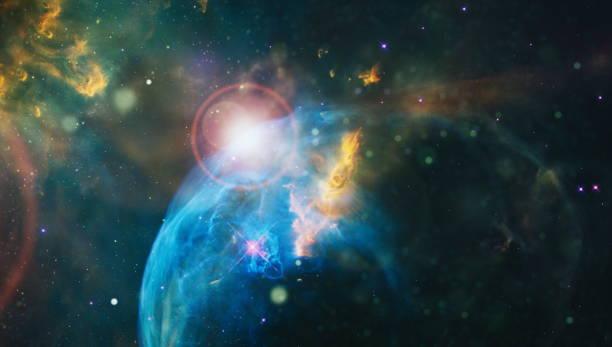 Güzel gece gökyüzü, uzayda yıldız. Uzay, bilim ve eğitim öğeleri üzerine kolaj. Bu görüntünün unsurları NASA tarafından döşenmiştir. stok fotoğrafı