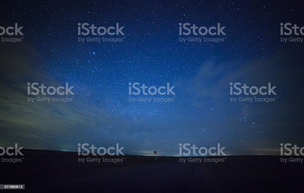 beautiful night sky, the Milky Way and the trees stock photo