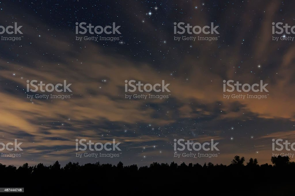 Beautiful night sky, with clouds and constellations, Aquarius, Aguila, Scutum stock photo