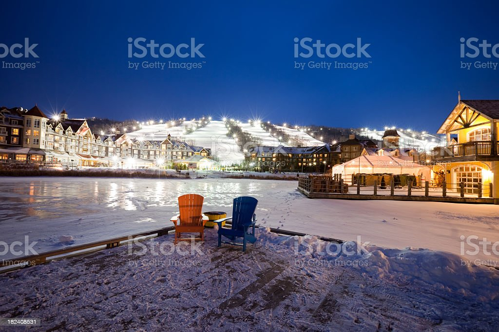 Beautiful night time view of Blue Mountain Resort stock photo