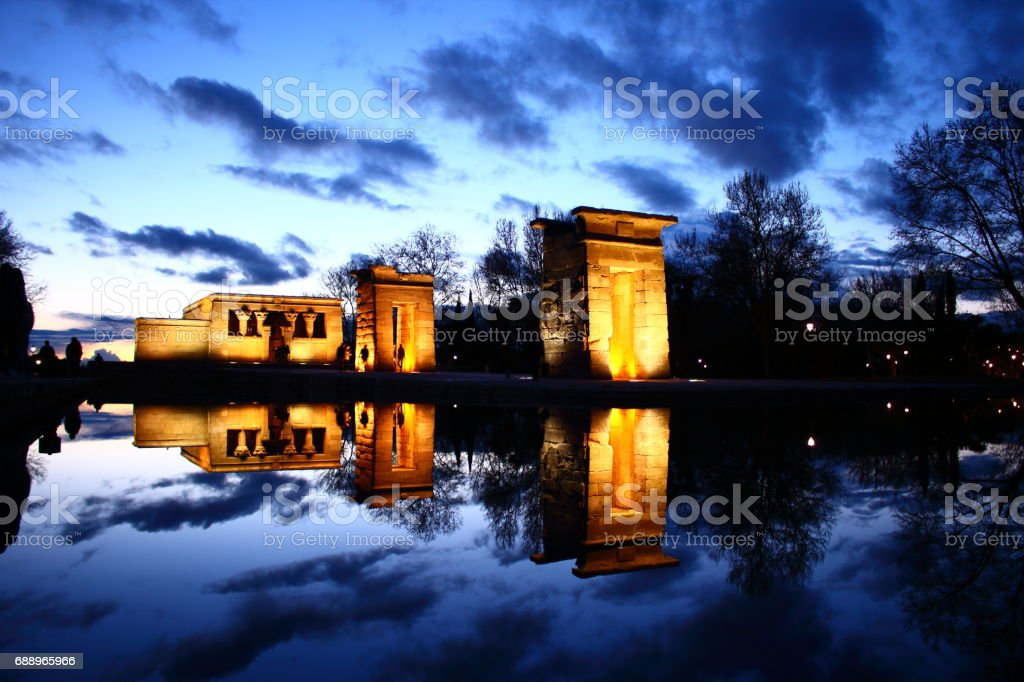 Beautiful night view at Templo de Debod in Madrid stock photo