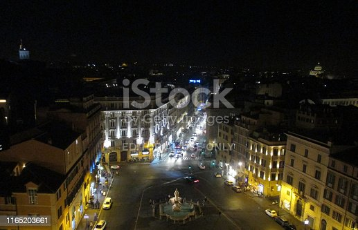 Beautiful night view on October 14, 2017, from the Sina Bernini Bristol hotel, which is in the famous Roman square of Barberini, where the Triton fountain is located. Built in a 19th-century palace in front of Piazza Barberini, this elegant hotel located opposite the Barberini metro station is 2 km from the Colosseum in Rome, the capital of Italy.