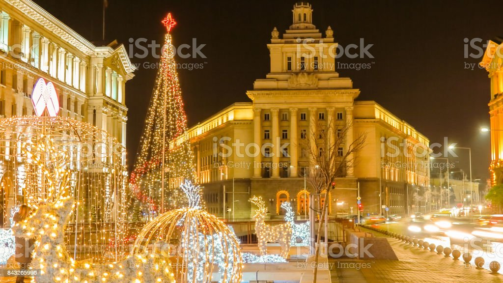Beautiful night view in downtown Sofia Ministerial Council, the National Assembly and the presidency with Christmas decorations. Bulgaria stock photo