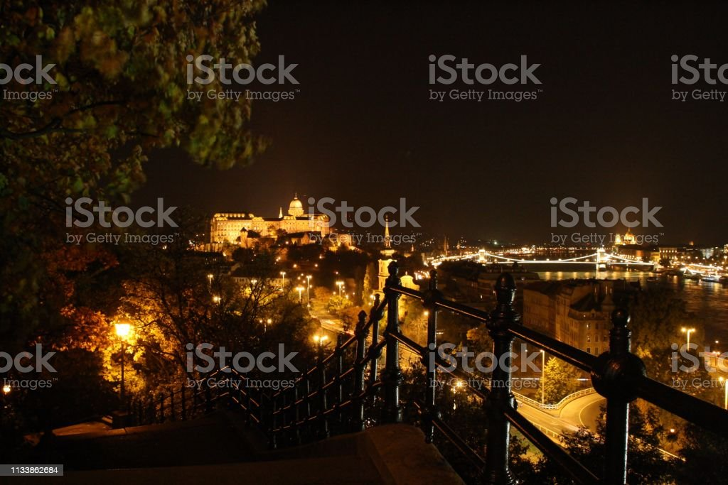 A beautiful night view of Budapest. stock photo