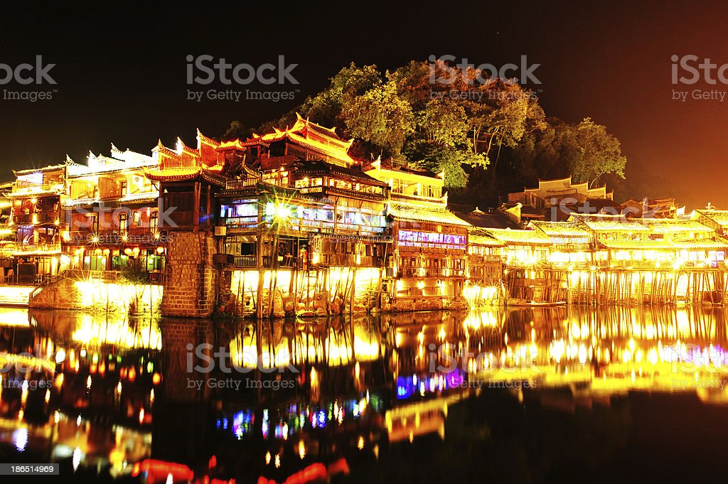 beautiful night view of Fenghuang (Phoenix) ancient town royalty-free stock photo