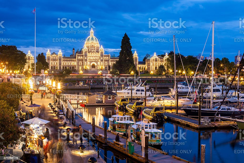 Beautiful Night view of Inner Harbour in Victoria stock photo
