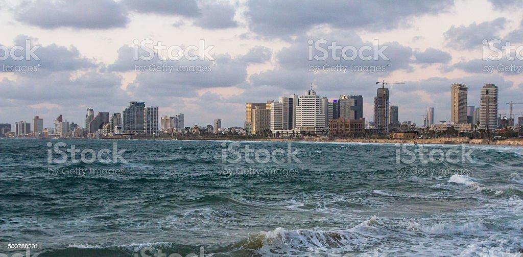 Beautiful night view of Tel-Aviv stock photo