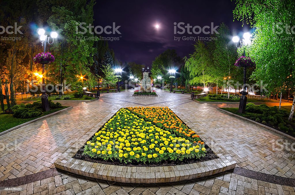 Beautiful night view of the street in Donetsk stock photo