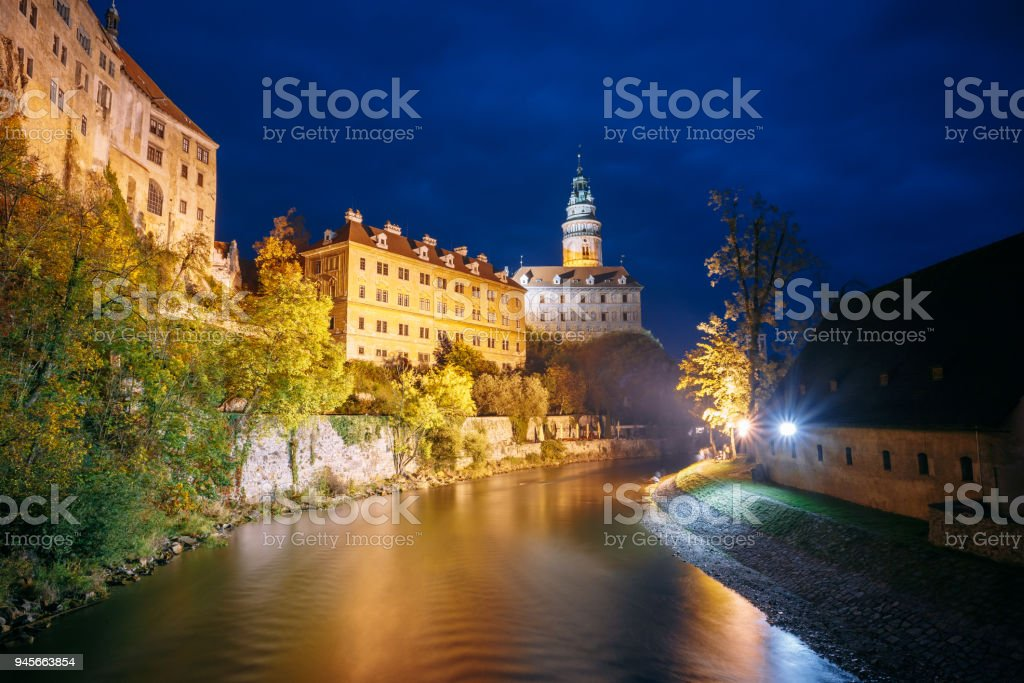 Beautiful night view old tower in Cesky Krumlov, Czech republic. UNESCO stock photo