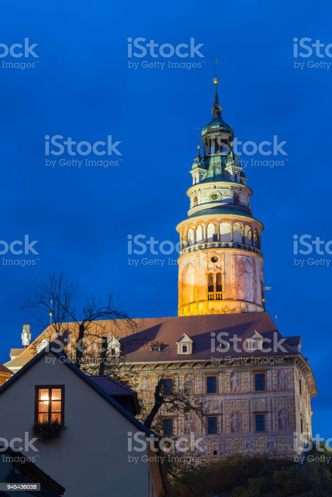 Beautiful night view to old tower in Cesky Krumlov, Czech republic stock photo