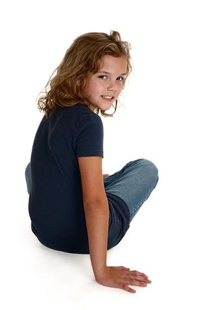 beautiful nine year old stock photo