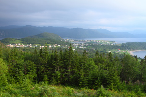 Beautiful  Nordic landscape with coastline and fishing village in Newfoundland, Canada