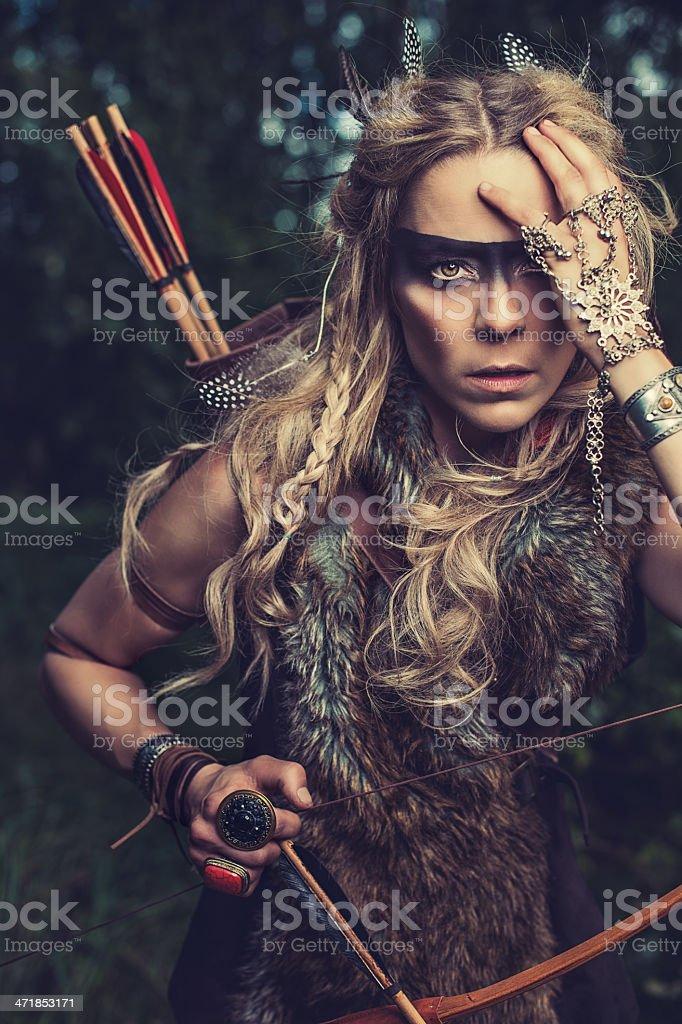 Beautiful northern elf warrior princess stock photo