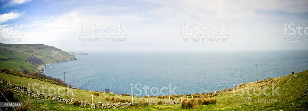 Beautiful Northern Irish coastline panorama between Belfast and Derry royalty-free stock photo