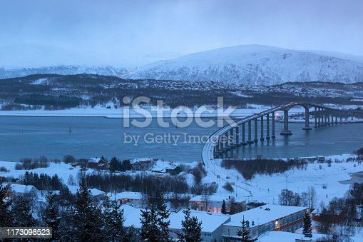 beautiful Norwegian landscape. view of the bridge to the city of Tromso. Norway.
