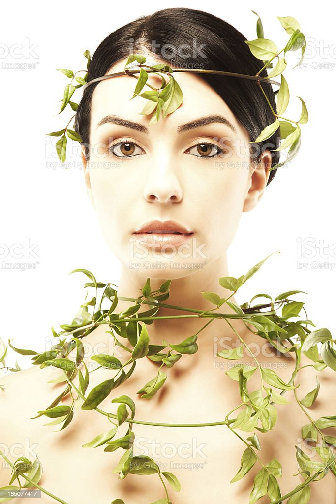 Beautiful nude woman with ivy leaves royalty-free stock photo
