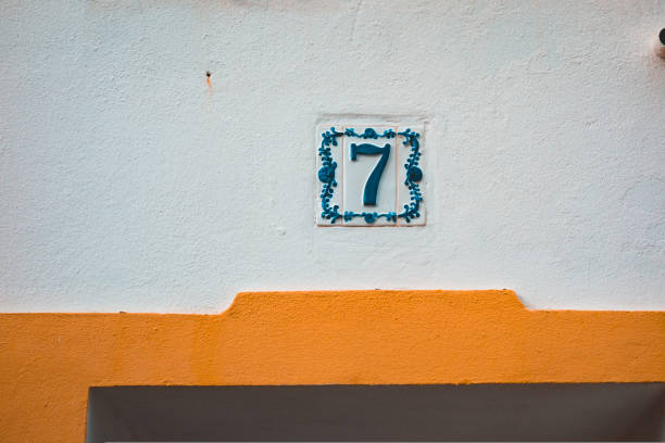 beautiful number 7 door sign in mediterranean style beautiful number 7 door sign in mediterranean style number 7 stock pictures, royalty-free photos & images