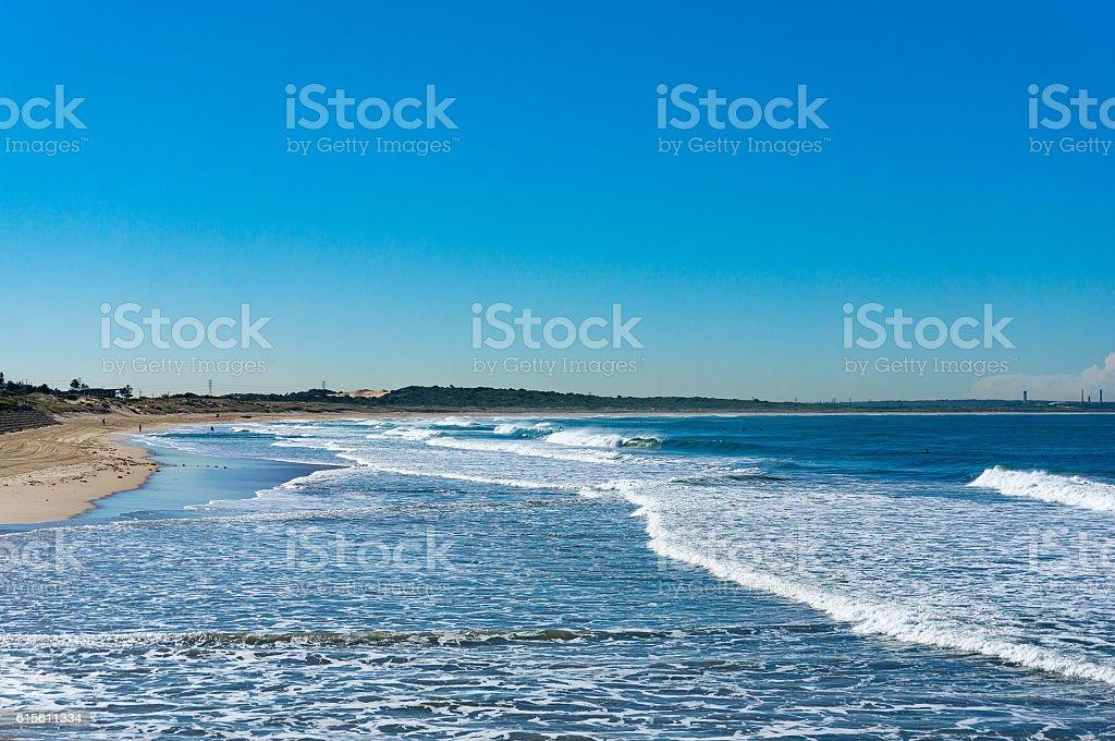 Beautiful ocean beach with blue sky stock photo