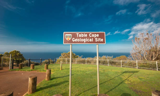 Beautiful ocean view from the Table Cape in Tasmania. stock photo
