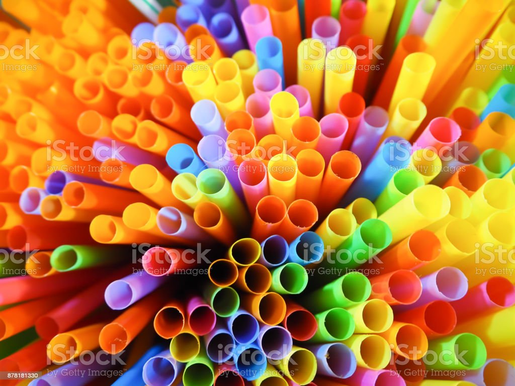 Beautiful of colorful striped drinking straw abstact background. stock photo