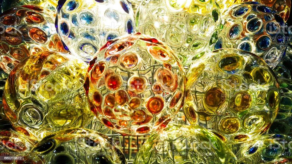 Beautiful of multi-colored glass globe - foto de acervo