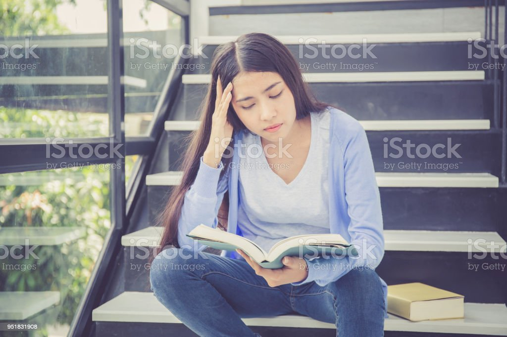 Beautiful Of Portrait Asian Young Woman Holding Book Girl