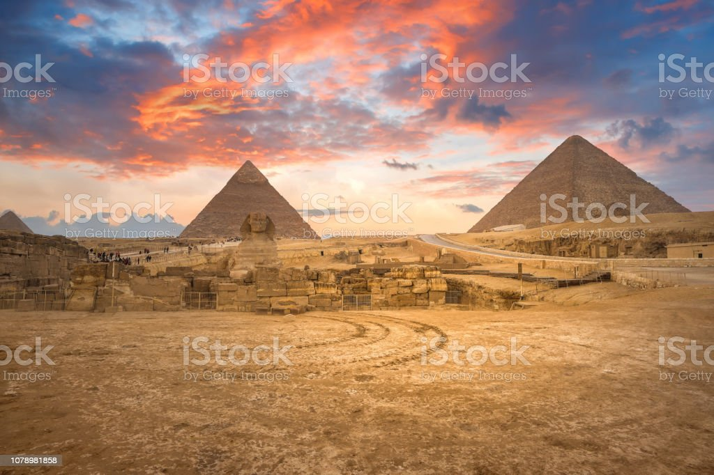 Beautiful  of the Great Sphinx including pyramids of Menkaure and Khafre  in Giza, Cairo, Egypt stock photo
