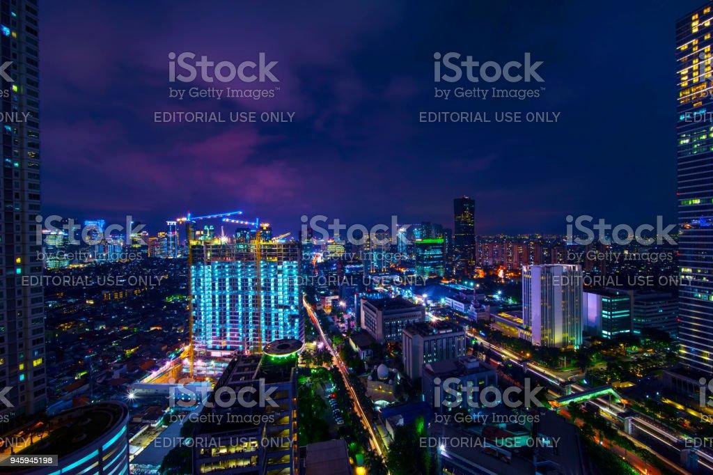 Beautiful aerial view of office buildings in Kuningan CBD Jakarta at...