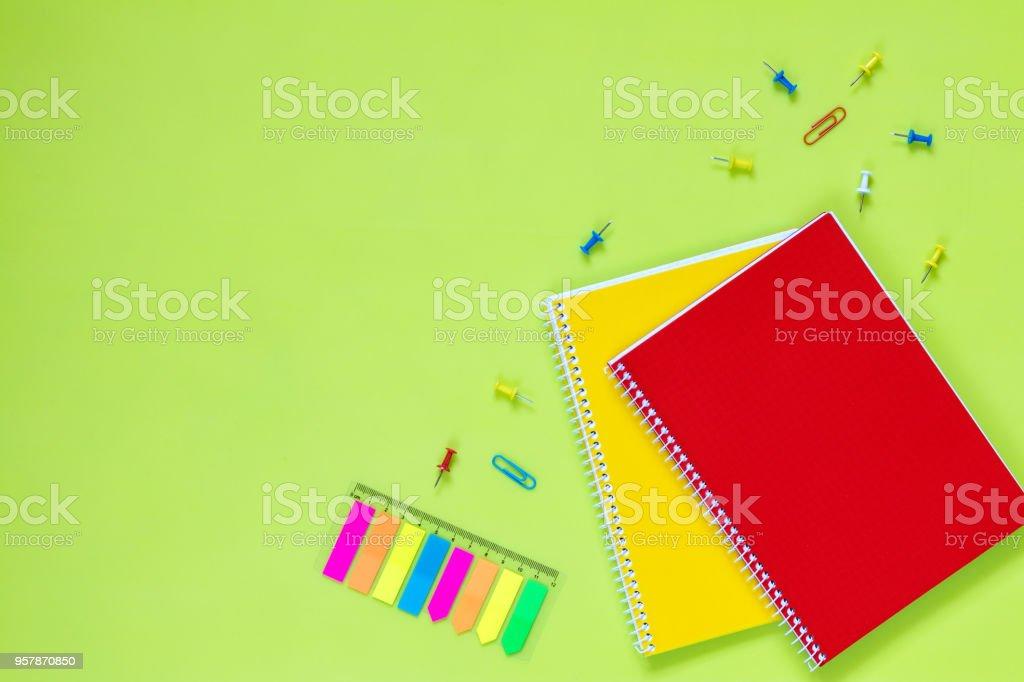 Beautiful office stationery flat lay stock photo