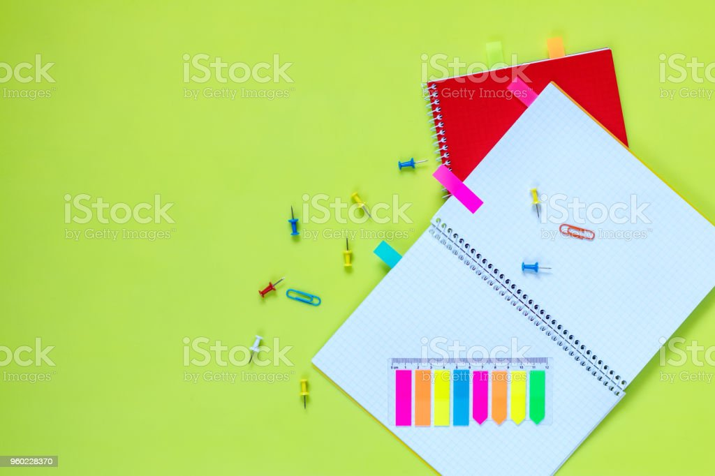 Beautiful office stationery flat lay stock photo