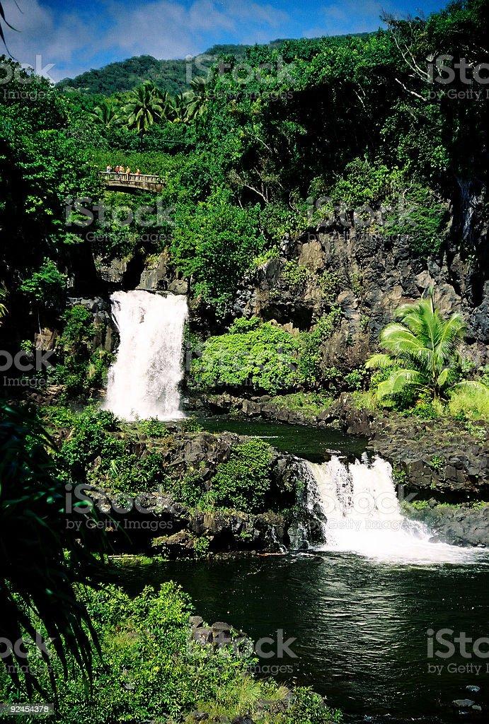 Beautiful Oheo Gulch Hana Maui Hawaii Waterfall stock photo