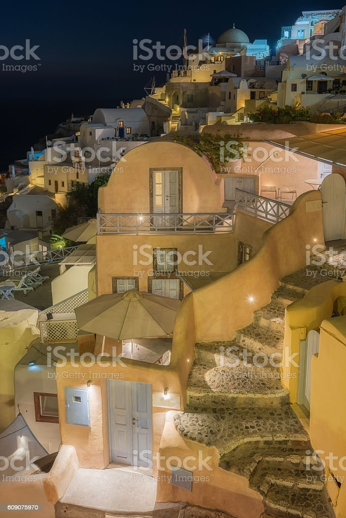 Beautiful Oia at night , Santorini stock photo