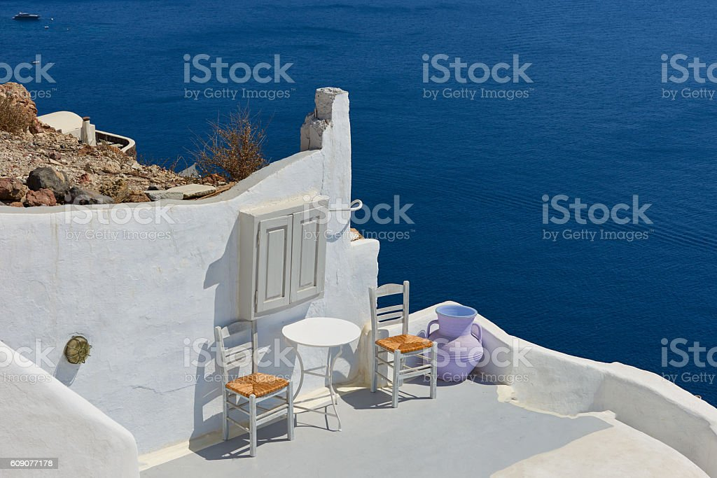 Beautiful Oia village stock photo