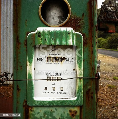 Queenstown, Australia, April 13, 2013:Beautiful old abandoned retro Petrol Pump in township of Queenstown on the west coast of Tasmania, AustraliaQueenstown, Australia, April 13, 2013:Beautiful old abandoned retro Petrol Pump in township of Queenstown on the west coast of Tasmania, Australia