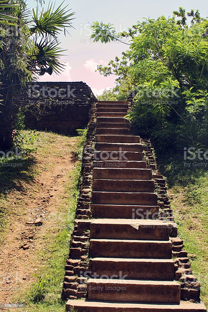 Beautiful old ancient stairway in  hinduist temple stock photo
