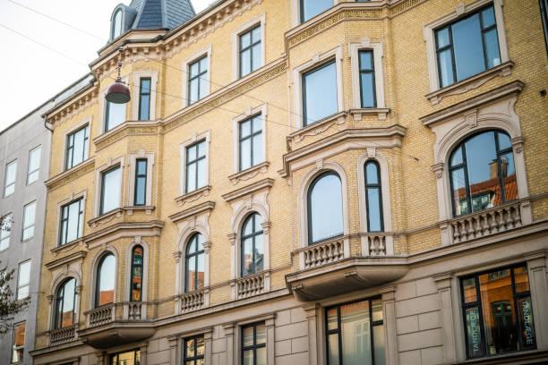 Beautiful old apartment building in Frederiksberg, Copenhagen, Denmark stock photo