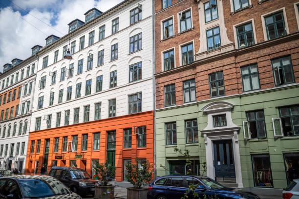 Beautiful old apartment buildings in Nørrebro, Copenhagen, Denmark stock photo