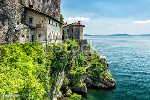 The monastery and church Santa Caterina del Sasso at the east-side of the Lago Maggiore was built in the 13th century