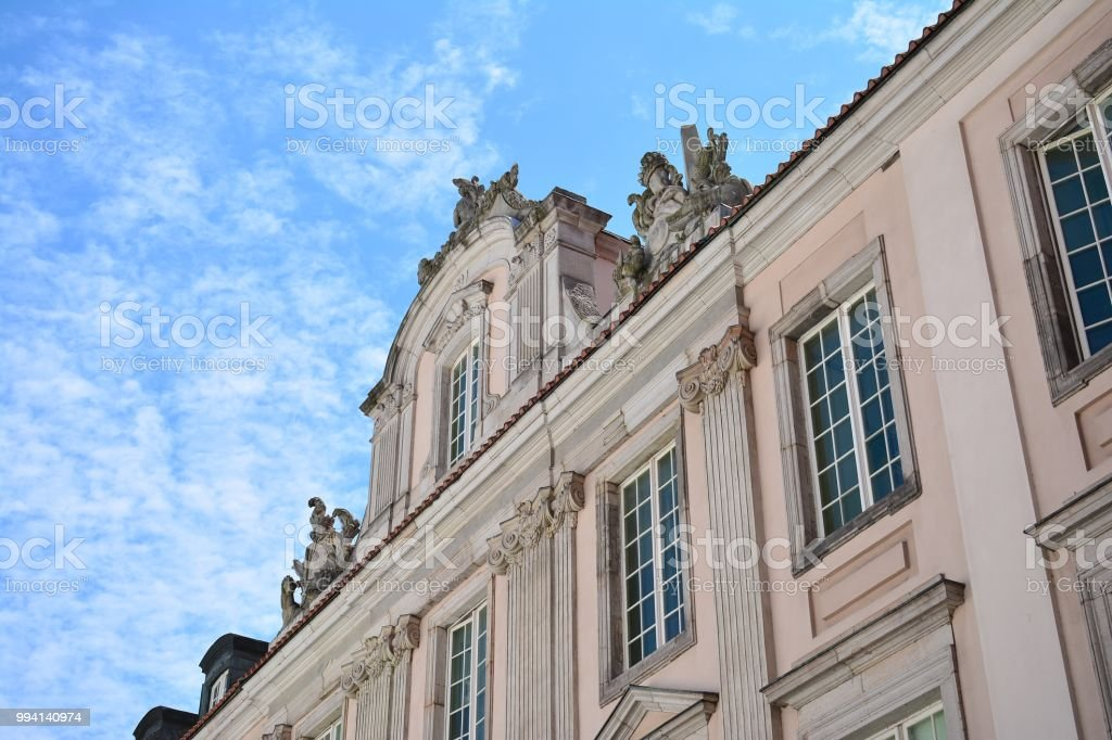 Beautiful old facade at a historic building stock photo