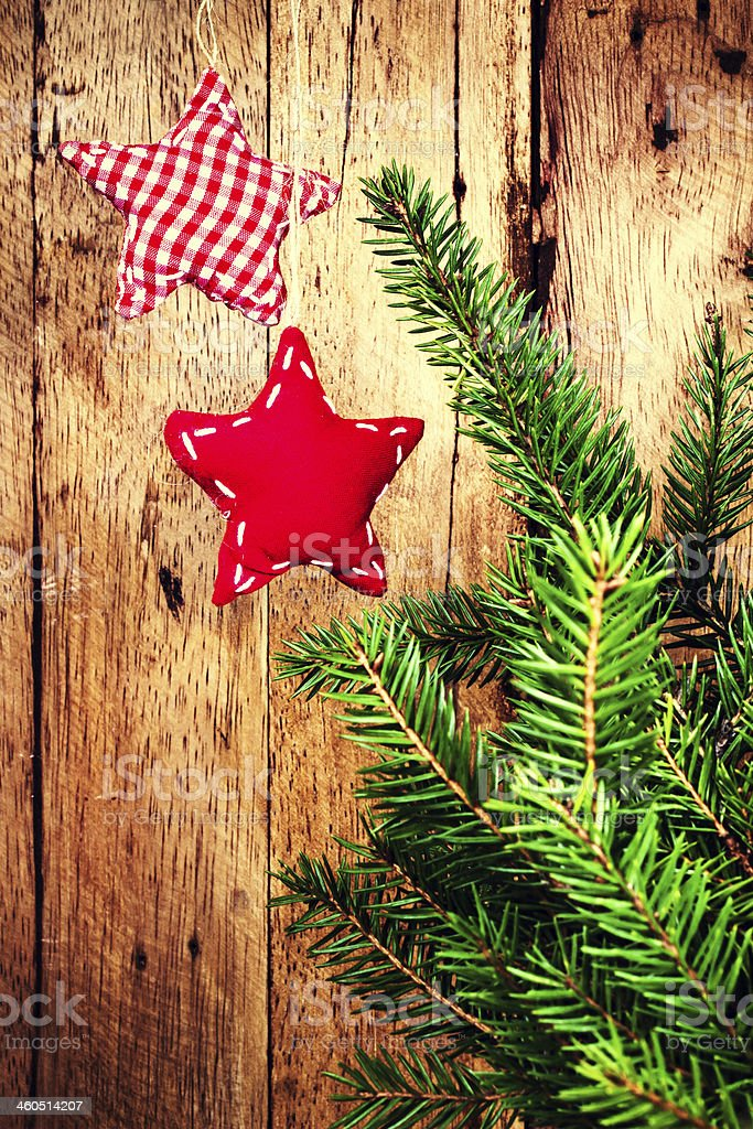 Beautiful Old Fashioned Christmas Ornaments On Wooden Board Wit