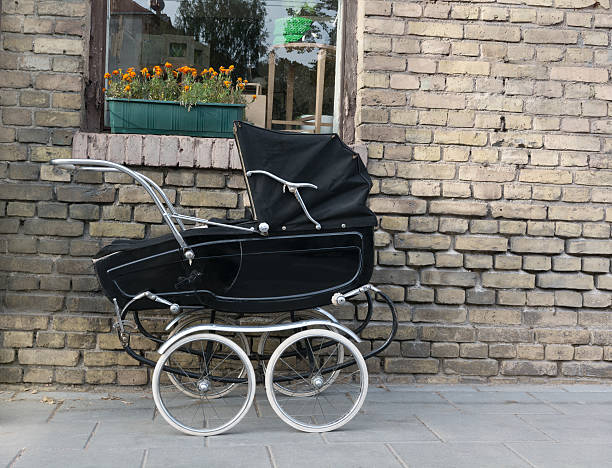 Beautiful old fashioned stroller stock photo