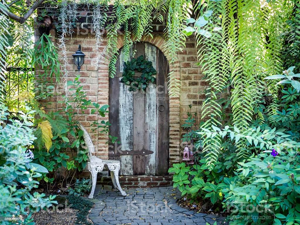 Beautiful old front door in brick house English style stock photo