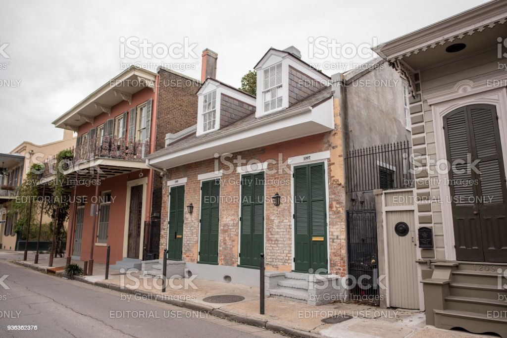 Beautiful old homes in the French Quarter stock photo