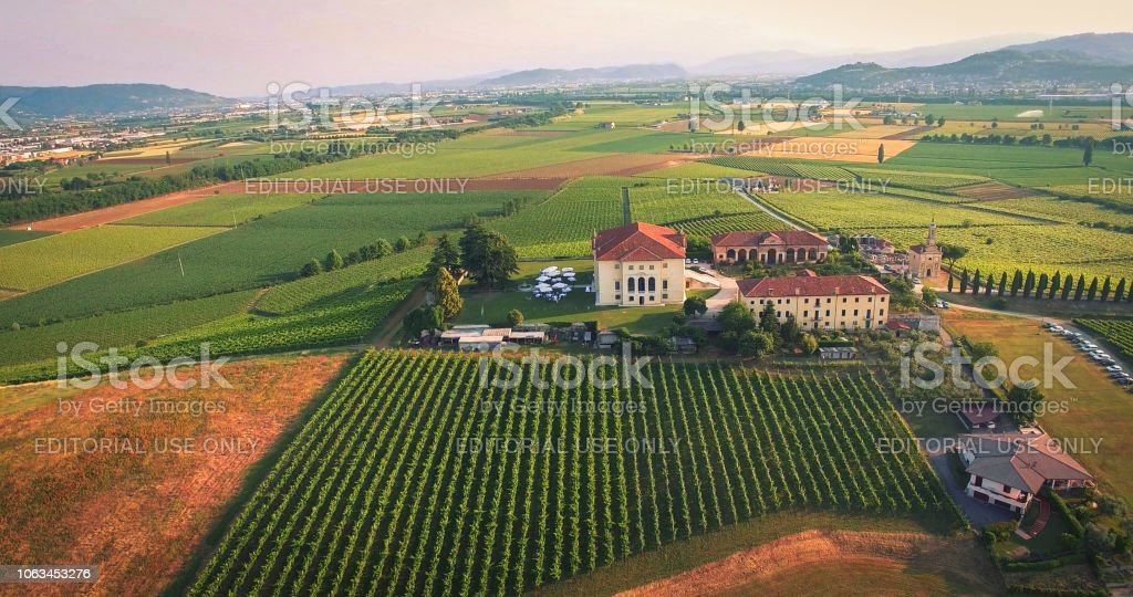 Beautiful old italian castle hosting wedding in the countryside. stock photo