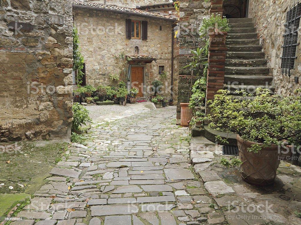 beautiful old italian courtyard stock photo