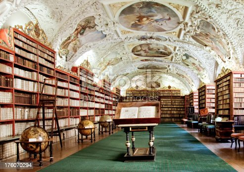 Old library in the PragueTheological Hall at Strahov Library in Prague Czech Republic