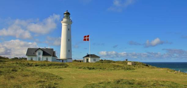 beautiful old lighthouse in hirtshals, denmark. - denmark stock photos and pictures